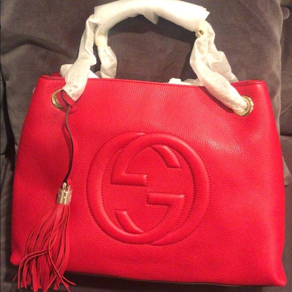 Gucci Handbags - Gucci Soho M Red Double Leather Chain Shoulder Bag